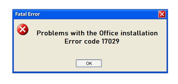 office install error 17029